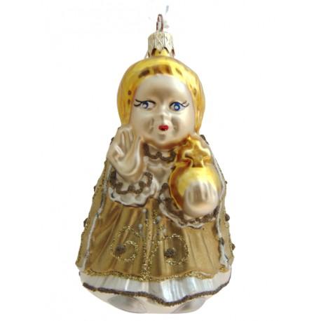 Vánoční ozdoba Pražského Jezulátka v zlatých šatech www.sklenenevyrobky.cz