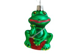 Vianočná ozdoba žaba v červených plavkách