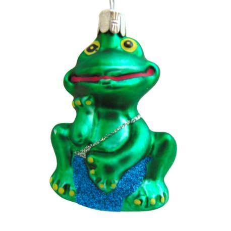 Vánoční ozdoba žába v modrých plavkách www.sklenenevyrobky.cz