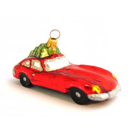 Vánoční ozdoba Auto 534 porsche červené veze lyže 2,5x10x3,5 cm