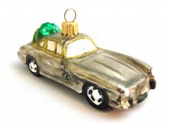 Vánoční ozdoba Auto 524 porsche veze lyže 2,5x10x3,5 cm