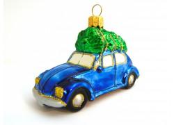Vánoční ozdoba, auto modré se stromkem VW Brouk www.sklenenevyrobky.cz