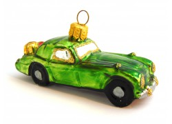 Vianočná ozdoba auto s darčekmi, 454 zelenej farby www.sklenenevyrobky.cz