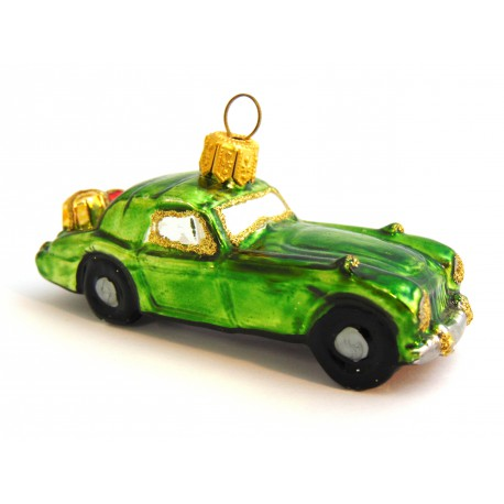 Christmas car ornament with gifts, 454 green color www.sklenenevyrobky.cz