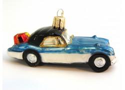 Weihnachten Retro Ornament Auto blau-silber mit Geschenken www.sklenenevyrobky.cz