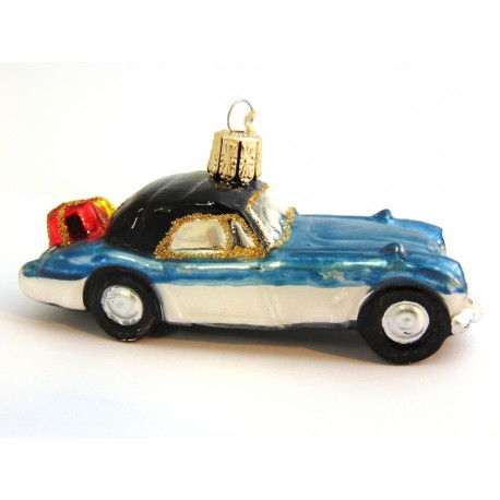 Christmas retro ornament car blue-silver with gifts www.sklenenevyrobky.cz