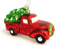 Vánoční ozdoba, nákladní auto s vánočním stromkem 555 www.sklenenevyrobky.cz