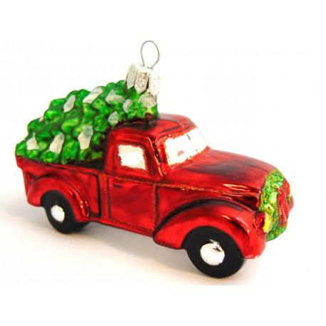 Christmas ornament, truck with Christmas tree www.sklenenevyrobky.cz