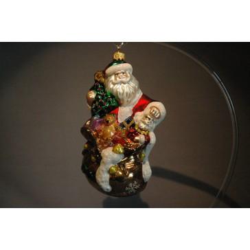 Vánoční ozdoba Santa s dárky www.sklenenevyrobky.cz