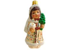 Christmas ornament, Angel in a coat www.sklenenevyrobky.cz