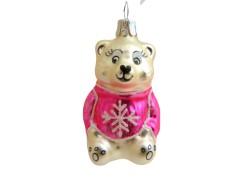 Christmas ornament, Teddy bear with snowflake www.sklenenevyrobky.cz