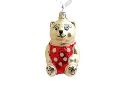 Christmas ornament, Teddy bear www.sklenenevyrobky.cz