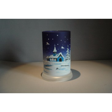 Svícen válec modrý vysoký 17 cm průměr 10 cm
