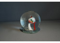 Sněžící koule Kočka bíločervená 80mm