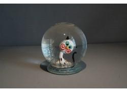 Sněžící koule Kočka bílá s puntíky 80mm