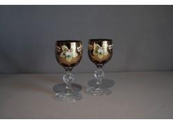Sklenice na aperitiv, 2 ks, zlacené a dekorované, rubínová barva www.sklenenevyrobky.cz