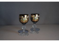 Aperitif glasses, 2 pcs, gilded and decorated, dark blue www.sklenenevyrobky.cz