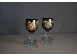 Sklenice na aperitiv, 2 ks, zlacené a dekorované, v zelené barvě www.sklenenevyrobky.cz