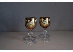 Aperitif glasses, 2 pcs, gilded and decorated, in amber yellow www.sklenenevyrobky.cz