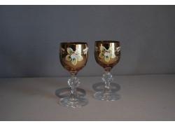 Sklenice na aperitiv, 2 ks, zlacené a dekorované, v jantarově žluté www.sklenenevyrobky.cz