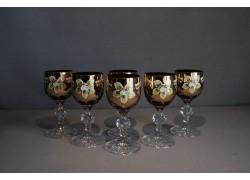 Aperitif glasses, 6 pcs, gilded and enamel, in ruby www.sklenenevyrobky.cz