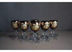 Aperitif glasses, 6 pcs, gilded and decorated, in blue www.sklenenevyrobky.cz