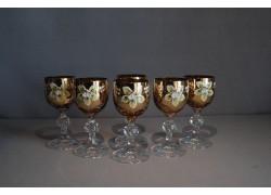 Sklenice na aperitiv, 6 ks, zlacené a dekorované, v jantarové barvě www.sklenenevyrobky.cz