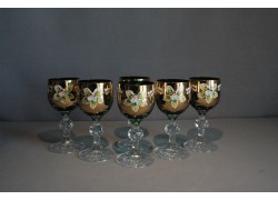 Aperitif glasses, 6 pcs, gilded and decorated, in green www.sklenenevyrobky.cz
