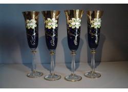 Sklenice na šampaňské, 6 ks, zlacené a smaltovaná, v modré barvě www.sklenenevyrobky.cz