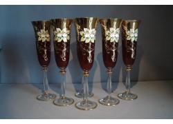 Champagne glasses, 6 pcs, gilded and enamel, in ruby www.sklenenevyrobky.cz
