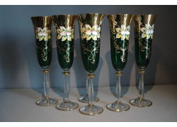 Pohár na šampanské, 6 ks, pozlátené a smaltovaná, v zelenej farbe