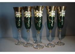 Sklenice na šampaňské, 6 ks, zlacené a smaltovaná, v zelené barvě