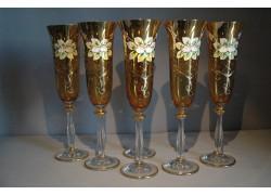 Sklenice na šampaňské, 6 ks, zlacené a smaltovaná, v jantarové barvě