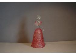 Skleněná rokoková dáma 13 cm čiré tělo růžové šaty a vějíř