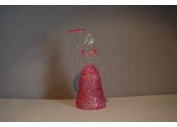 Skleněná rokoková dáma 13 cm čiré tělo růžové šaty a deštník