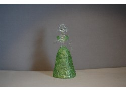 Skleněná rokoková dáma 13 cm čiré tělo zelené šaty a vějíř