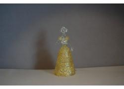 Skleněná rokoková dáma 13 cm čiré tělo žluté šaty a vějíř