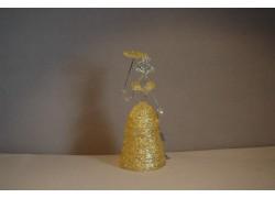 Ladies figurine with parasol, in yellow dress, clear glass www.sklenenevyrobky.cz
