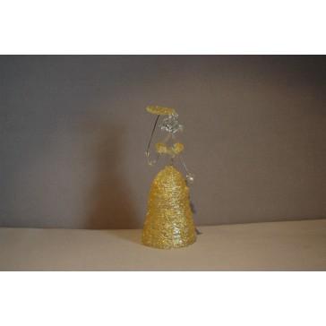 Skleněná rokoková dáma 13 cm čiré tělo žluté šaty a deštník