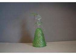 Figurine ladies with parasol, in green dress, clear glass www.sklenenevyrobky.cz