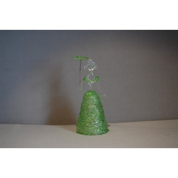 Skleněná rokoková dáma 13 cm čiré tělo zelené šaty a deštník