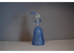 Skleněná rokoková dáma 13 cm čiré tělo modré šaty a deštník