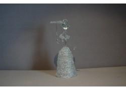 Ladies figurine with parasol, clear glass www.sklenenevyrobky.cz