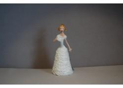 Figurine ladies with fan in white dress www.sklenenevyrobky.cz
