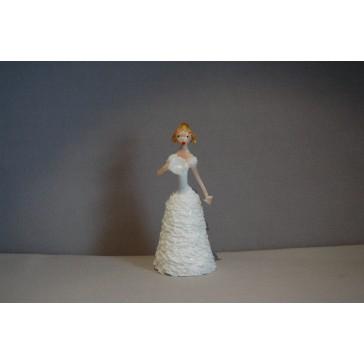 Skleněná rokoková dáma 13 cm bílé šaty a vějíř