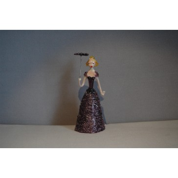 Skleněná rokoková dáma 13 cm fialové šaty a deštník