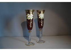 Sklenice na šampaňské, 2 ks, zlacené a dekorované, rubínové www.sklenenevyrobky.cz