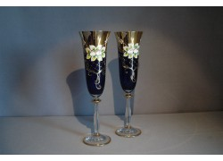 Glasses of champagne, 2 pcs, gilded and decorated, blue www.sklenenevyrobky.cz