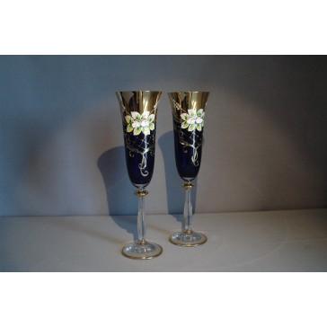 Sklenice na šampaňské, 2 ks, zlacené a dekorované, modré www.sklenenevyrobky.cz