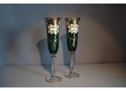 Sklenice na šampaňské, 2 ks, zlacené a dekorované, zelené www.sklenenevyrobky.cz